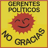 135 No gracias -gerentes políticos 3x3 cm