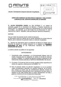 ESCRITO PARA D. G. DE RRHH SOBRE CONTRATACION TEMPORAL DE ATENCION HOSPITALARIA