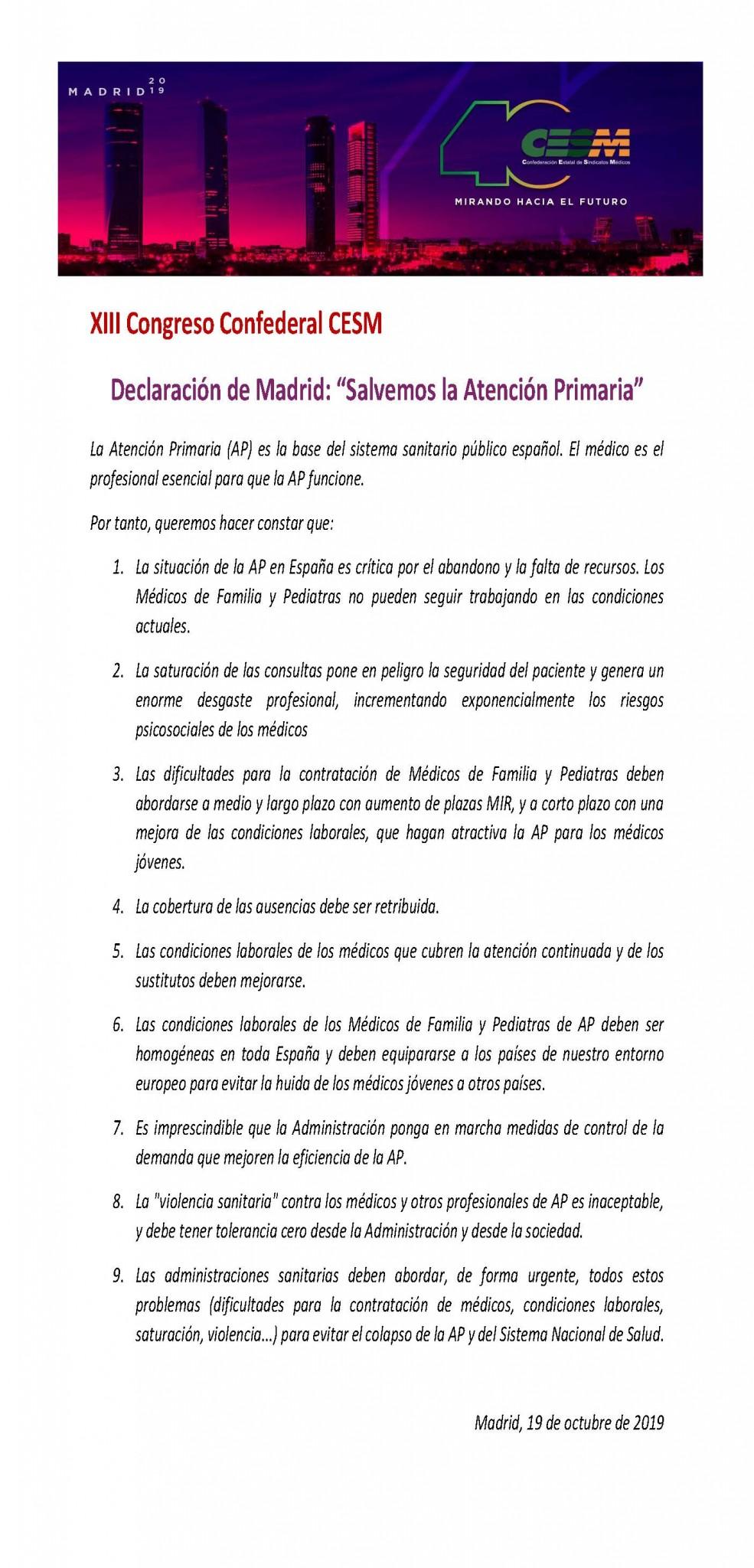 Declaración de Madrid XIII Congreso Confederal CESM